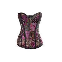 Vaslanda Womens Steampunk Vintage Overbust Corset Bustier Top Retro Gothic Brocade Corset Sexy Lingerie with Buckles Chains