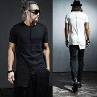 Size 5XL Men T Shirt Short Sleeve 2019 Plus Size Summer Slim O Neck Irregular Tees Male Stylis Black White Tops & Tees clothing