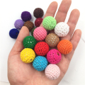 Popular 20Pcs/Lot Crochet Beads Round Wooden Ball Knit 20mm (3/4 inch)  for Decoration Inside Acrylic Beads Baby Teether Beads
