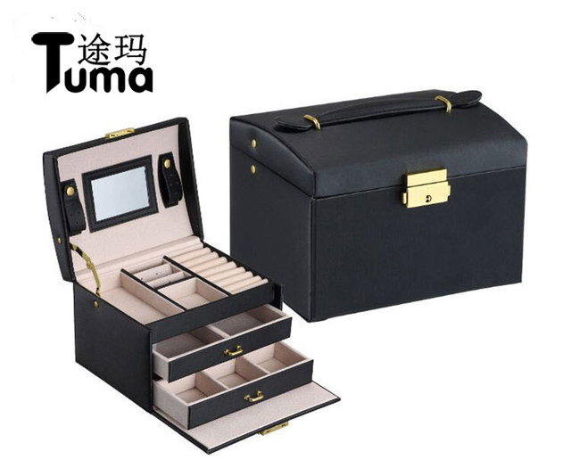 Three Layers 2018 Classical High Quality Leather Jewelry Box Jewelry