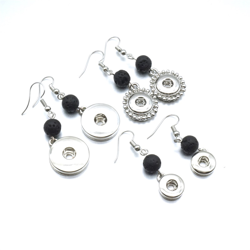 Silver 18mm 12mm Snap Button Charms Earrings 8mm Aromatherapy Black Lava Bead DIY Essential Oil Diffuser Earrings Jewelry image