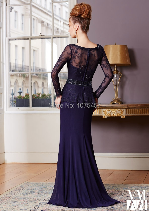 Free Shipping Long Sleeve Mother Of the Bride Lace Dresses Navy Blue  Chiffon Pant Suit Sheer Back Vestido De Madrinha Sexy JM321-in Mother of  the Bride ... d9737b1ce878