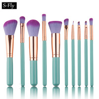10pcs Kabuki Blending Make Up Brush Set Foundation Eyeshadow Lip Eyebrow  Concealer Cosmetic Makeup Brushes Kabuki Blush Brush