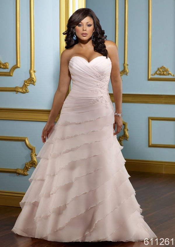 plus size light pink sweetheart neck lace up floor length court ...