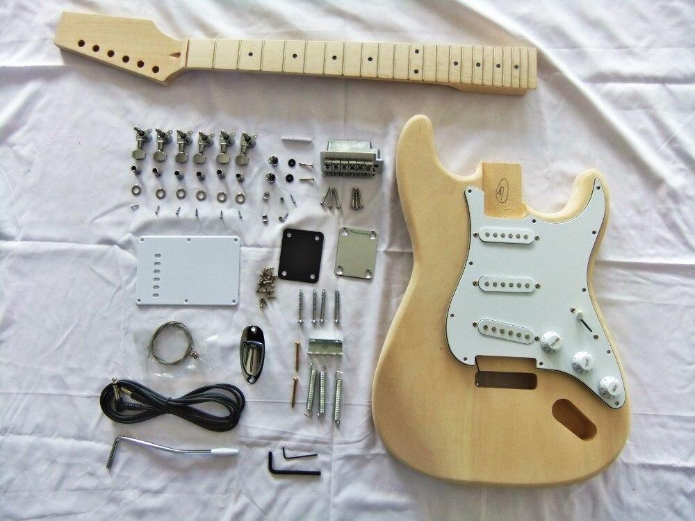 GYST-3002 en bois de burlywood fait main classique manche en érable acajou massif, kit de bricolage Semi-fini de guitare électrique, livraison gratuite