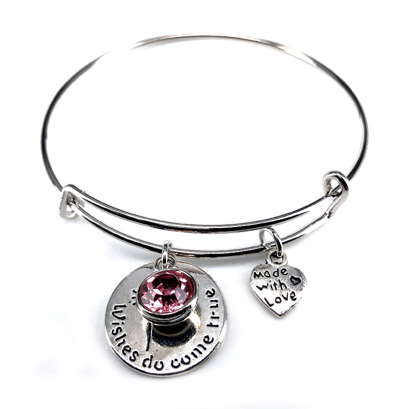 65mm Adjustable Steel Wire Bangle Birthstone Wish Do Come True Love Charm Bracelet Jewelry for Women Girl Gift B18100