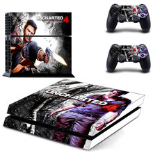 PS4 Skin Sticker Decal Cover of UNCHARTED 4 For Sony PS4 PlayStation 4 Console and 2 controller skins