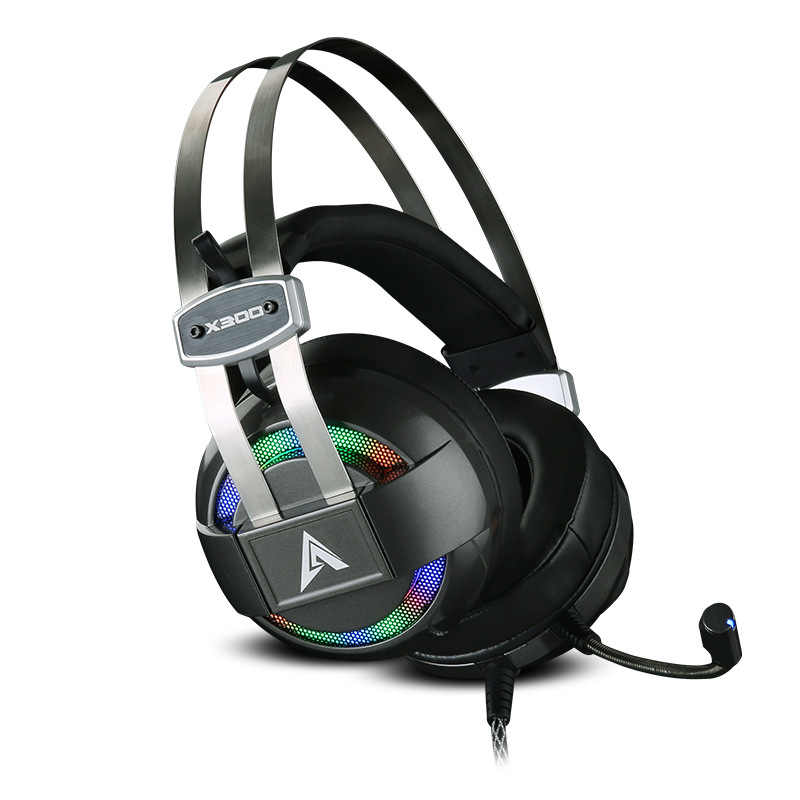X300 グローイングチタン 7.1 サラウンドサウンドの Usb ゲーミングヘッドセットヘッドフォンとマイクのための PC 、 PS4 、 xbox One 、 360 の、プレイステーション 3