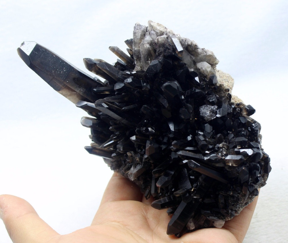 380g Naturale Rare Bella Nero Cristallo Di QUARZO Cluster Campioni di Minerali