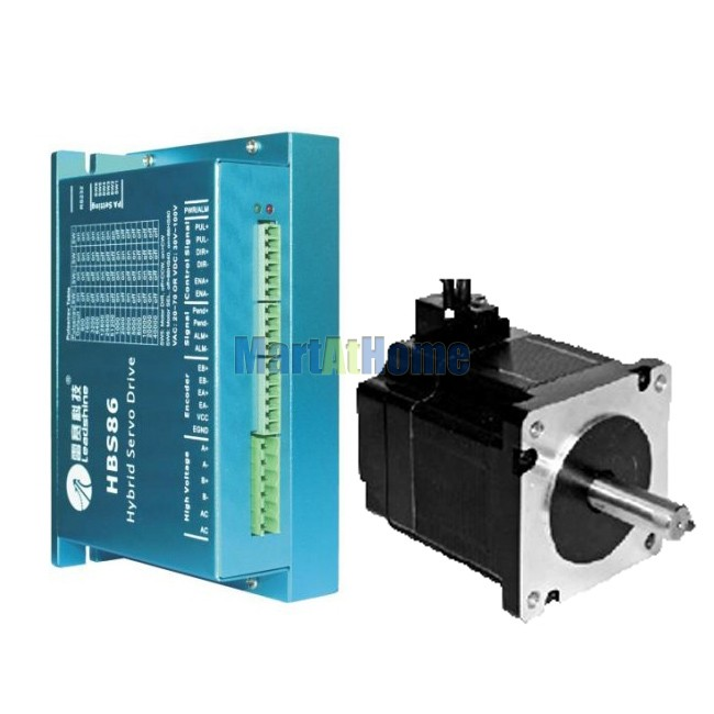 Leadshine 300W CNC Hybrid Servo Driver Kit - HBS86 Drive & 86HS40-EC-1000 Motor #SM584 @SD nema23 3phase closed loop motor hybrid servo drive hbs507 leadshine 18 50vdc new original