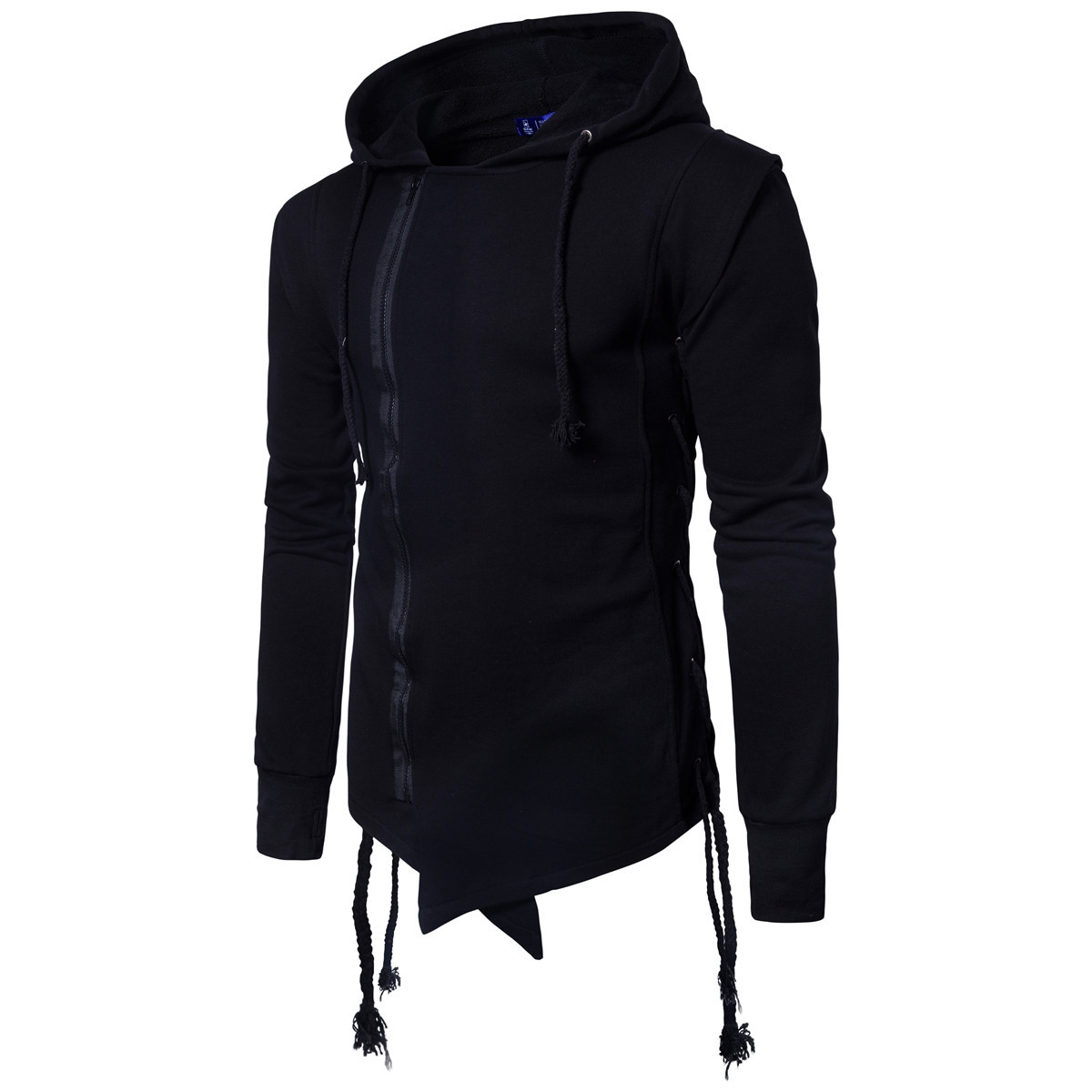 2018 Men's Cotton Lapel Drawstring Hooded Fashion Solid Color Slim Cardigan Hooded Pullover For Male Autumn Winter M-3XL
