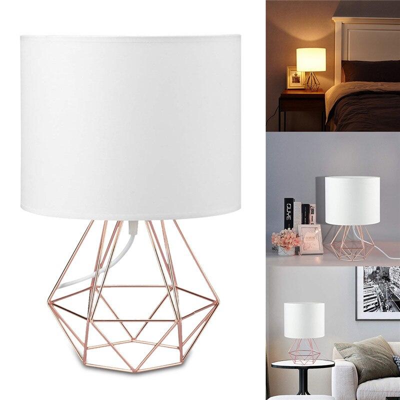 E27 Geometrische Tisch Lampen Dekorative Retro Trommel Schatten Licht Nacht Hause Beleuchtung für Schlafzimmer Wohnzimmer Büro Lampe