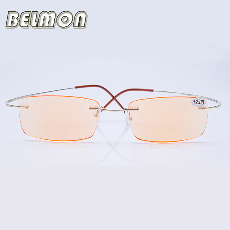 Pure Titanium Frame Magnetic Reading Glasses Men Women Rimless Super-Light Diopter Presbyopic Glasses +1.0+1.5+2.0+2.5+3.0 RS063