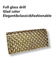 Women's Rhinestone Full Glass Drill Banquet Handbag Party Clutch Female bolsa carteiro feminina With 120cm Chain