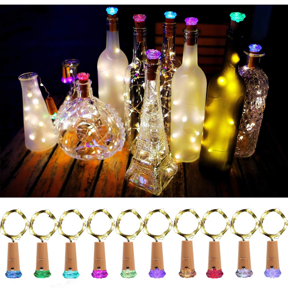 Free Shipping  Wine Bottle Lights With Cork Fairy Battery Operated Mini Lights Diamond Shaped 15LED DIY String Lights 10 Pack