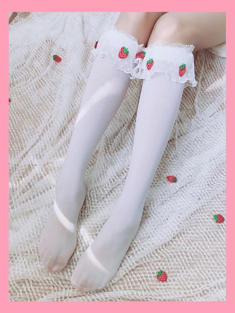 Princess Sweet Lolita Stockings Originally Lolitas Girl Wind Velvet Lace Pile Stockings Lovely Strawberry Stockings Women WGR015