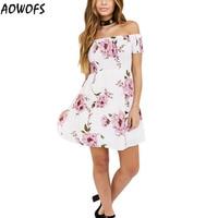 Cute Dress AOWOFS 2017 Summer Fashion Women Off Shoulder Floral Printing Mini Dress Boho Style A-Line Short Sleeve Mini Dress