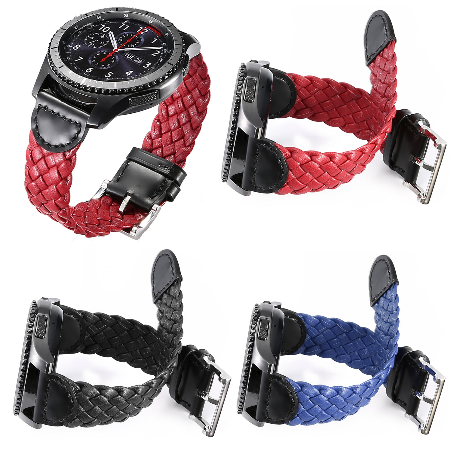 Weave Genuine Leather Watch Band for Samsung Gear S3 Frontier Strap Bracelet for Gear S3 Classic Band with Quick Release Pins genuine leather watch band strap for samsung galaxy gear s2 classic r732 black