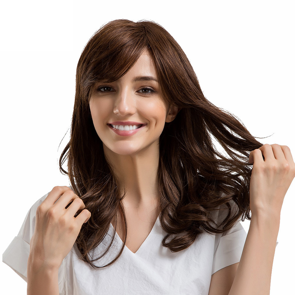 fashion wig Ladies Natural Color Side Parting Long Curly Hair Human Hair Wigs with Bangs цена