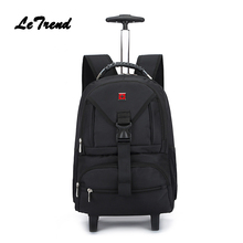 Letrend Business font b Oxford b font Travel Bag Suitcases Wheels Student Backpack Rolling Luggage large
