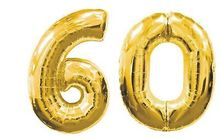 60th BIRTHDAY PARTY DECORATION GIANT 40 inch GOLD Silver Pink blue number 60 FOIL BALLOONS Nos 6 & 0 -(China)