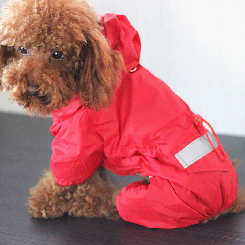 6 Sizes High Quality Waterproof Acrylic Dog Rain Coat Reflective Clothes For Dog Rain Day Solid Thin Dog Jacket Pet Supplies