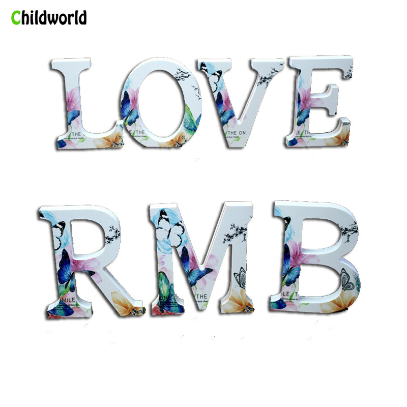 Diy Wooden Letters And Number Creative Figurines Love Wedding