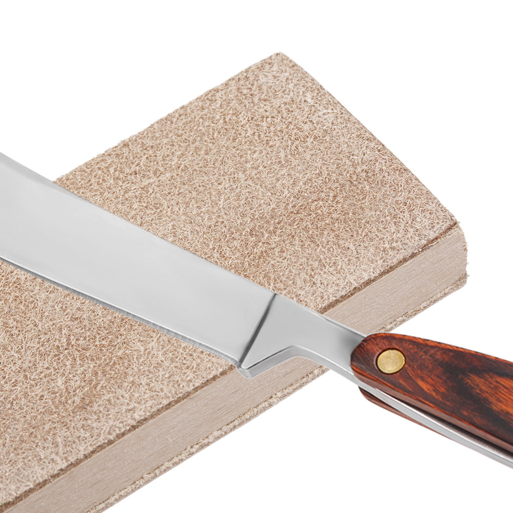 Double Sided Wood Handle Leather Sharpening Strop For Shaving Razors Knife Polishing Board Male Barber Leather Sharpening Tool