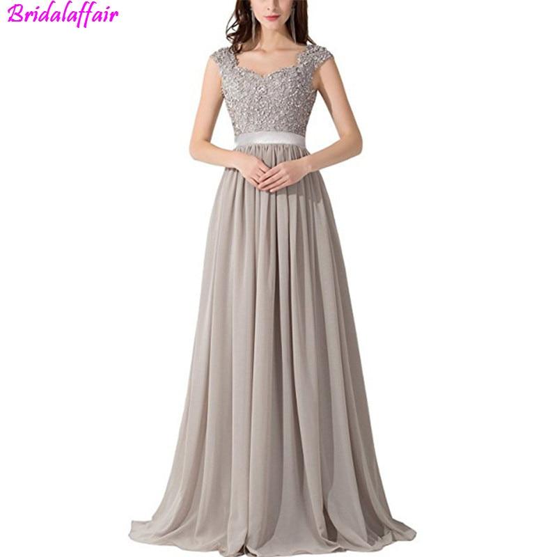 2019 Female Chiffion Prom Dress Illusion vestidos de festa longo Comfortable lace Evening dress grey Prom
