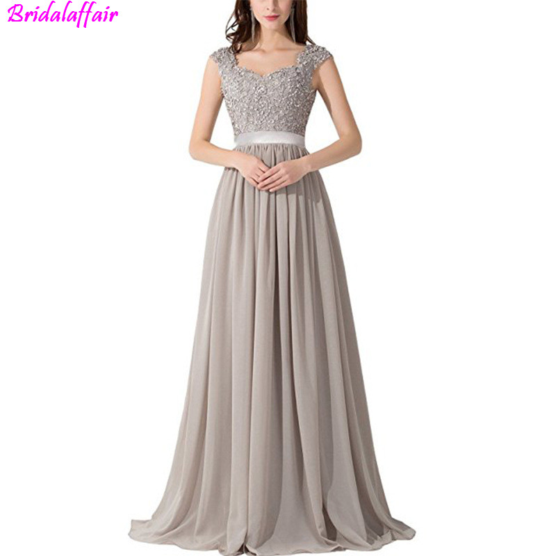 2019 Female Chiffion   Prom     Dress   Illusion vestidos de festa longo Comfortable lace Evening   dress   grey   Prom   Gown