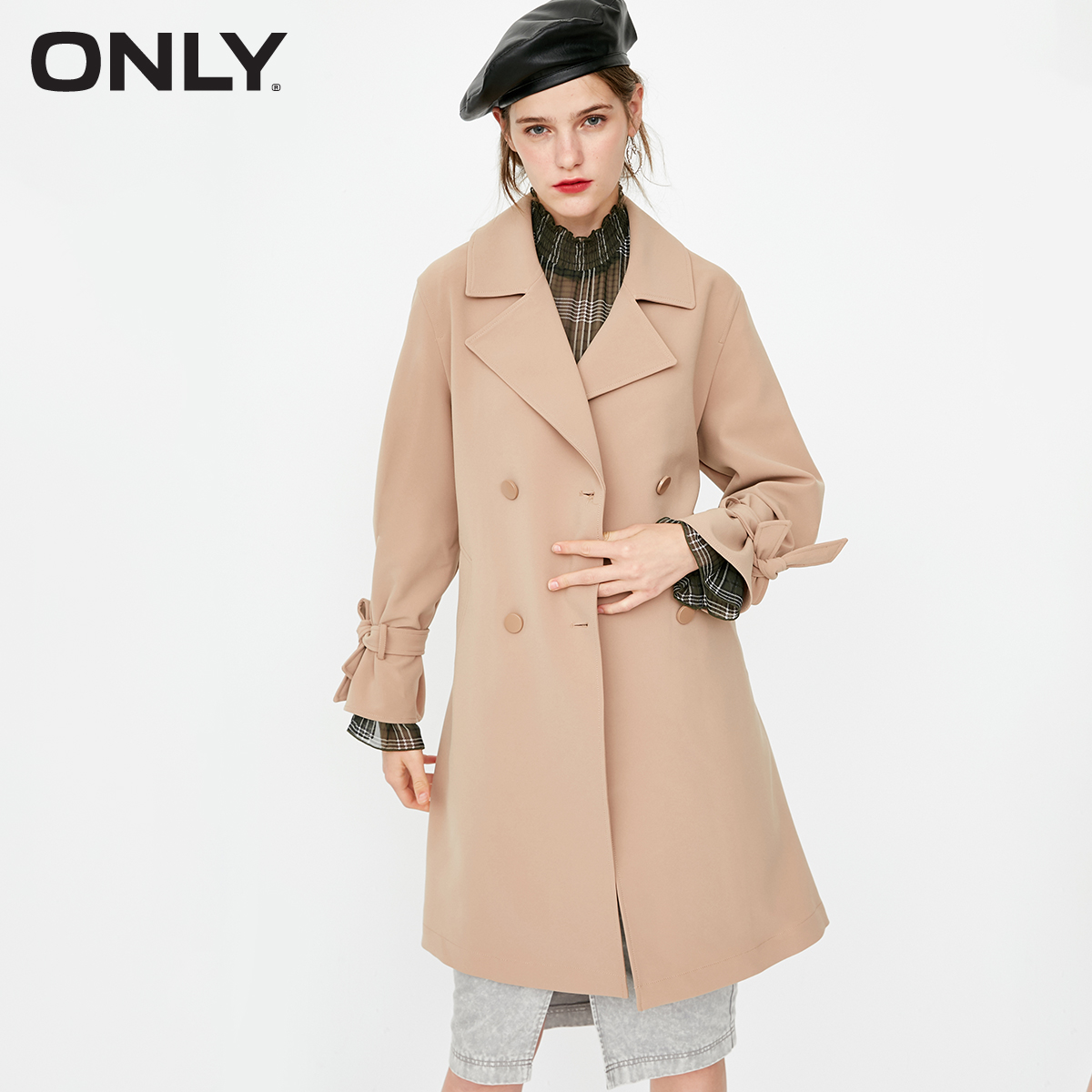 ONLY Spring Summer New Women's Loose Fit Double-breasted Lace-up Wind Coat |118336533