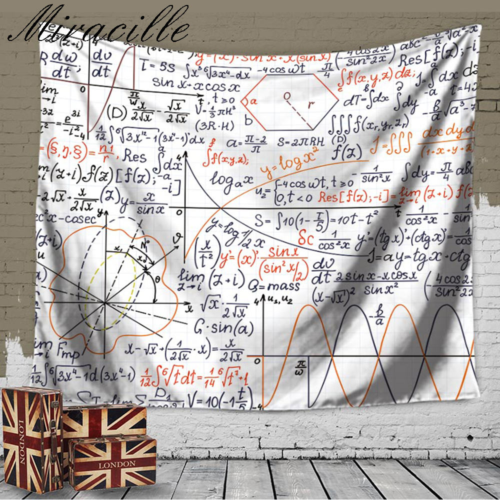 Miracille Home Fashion Decoration Chemical Mathematical Formula Wall Art Tapestry Beach Towel Bedroom Cover Up Carpet 2 Sizes