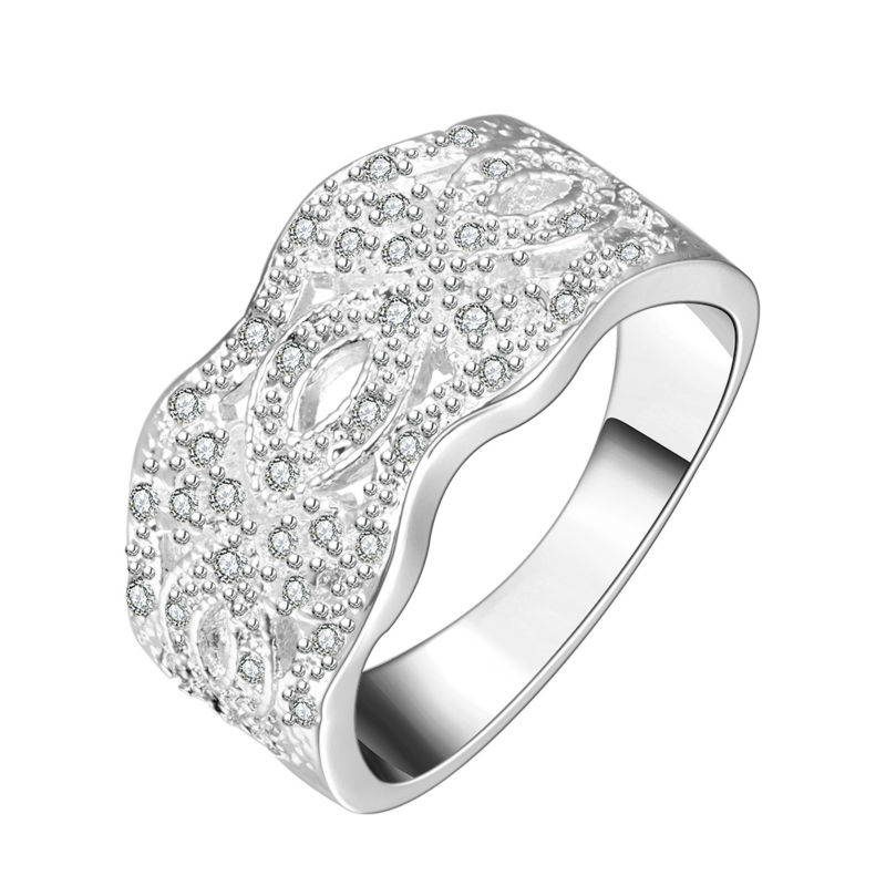 Rare jewellery Elegant  Women Jewelry Wave Shape Inlay White Zircon  Silver Ring wedding Party Anniversary best selling Gifts