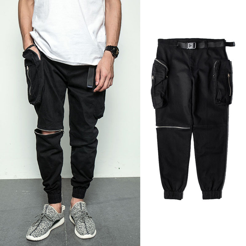 Brand Hipster Mens Trousers Sweatpants Male Slacks Casual Jogger Baggy Casual Zip Pants Homme Hot Long Hip Pop Trousers New