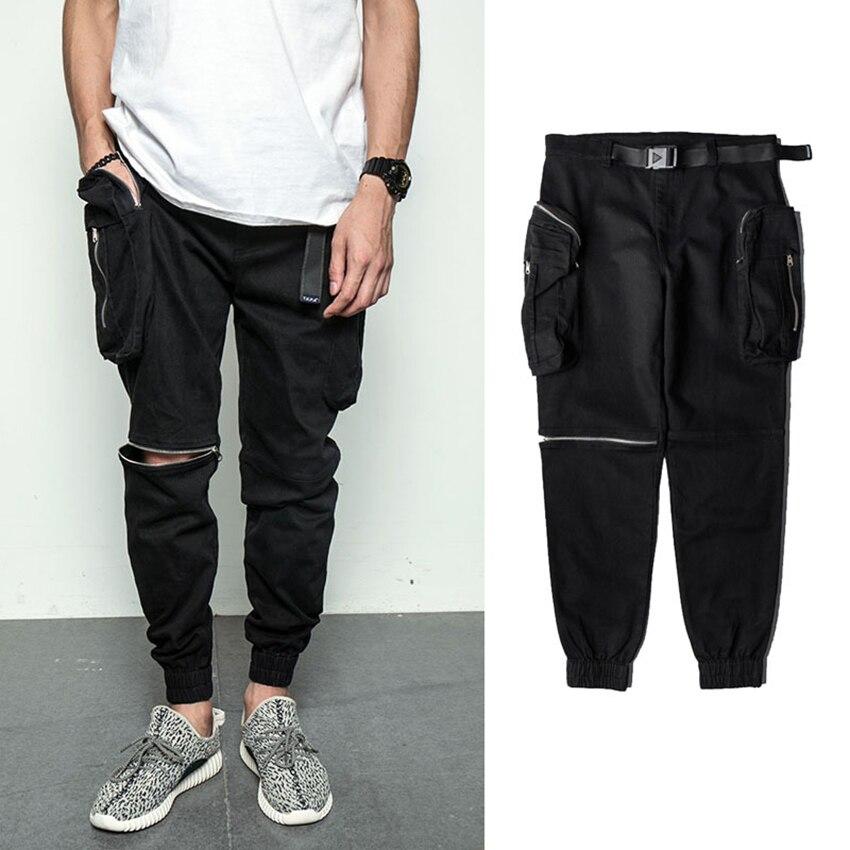 Marque Hipster Hommes Pantalon Pantalon Homme Pantalons Sport Jogger Baggy Casual Zip Pantalon Homme Chaude Longue Hip Pop Pantalon Nouveau