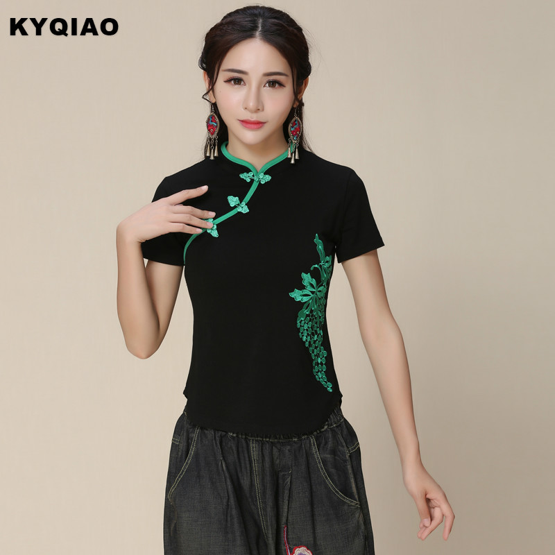 KYQIAO Plus size women clothing m-5xl black mandarin collar short sleeve handmade <font><b>frog</b></font> slant opening <font><b>blouse</b></font> shirt blusa