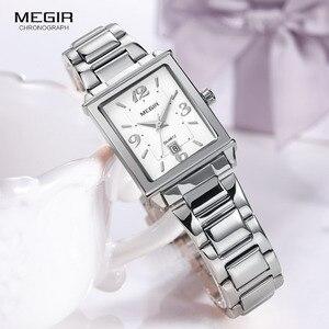 Image 2 - Megir נשים פשוט נירוסטה קוורץ שעון עם לוח שנה תאריך תצוגת אופנה עמיד למים שמלת שעון יד עבור Ladies1079L