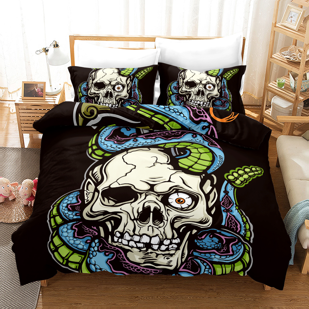 FANAIJIA 3d Sugar Skull Quilt Cover and Pillowcases with Flower Skull Bedding Sets King Size Bed Sets Bed Comforter