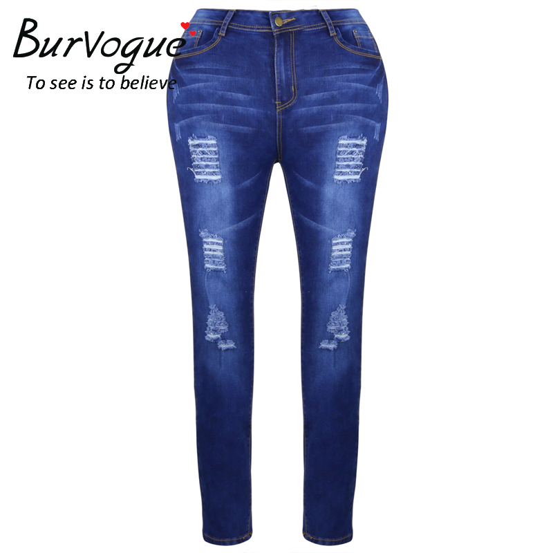 Burvogue Fashion Women Butt Lifting Jeans Skinny Stretch Blue Leggings Ripped Full Length Pencil Pants New Arrival Jeans
