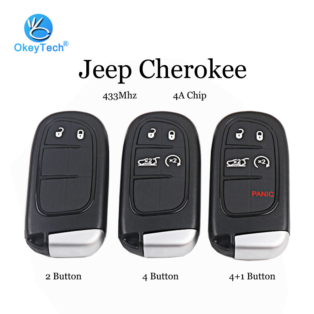 OkeyTech Keyless Entry 433Mhz 4A Chip with Insert Small Uncut Blade 2/4/4+1 Button for <font><b>Jeep</b></font> Cherokee Car <font><b>Remote</b></font> Smart <font><b>Key</b></font> Card image