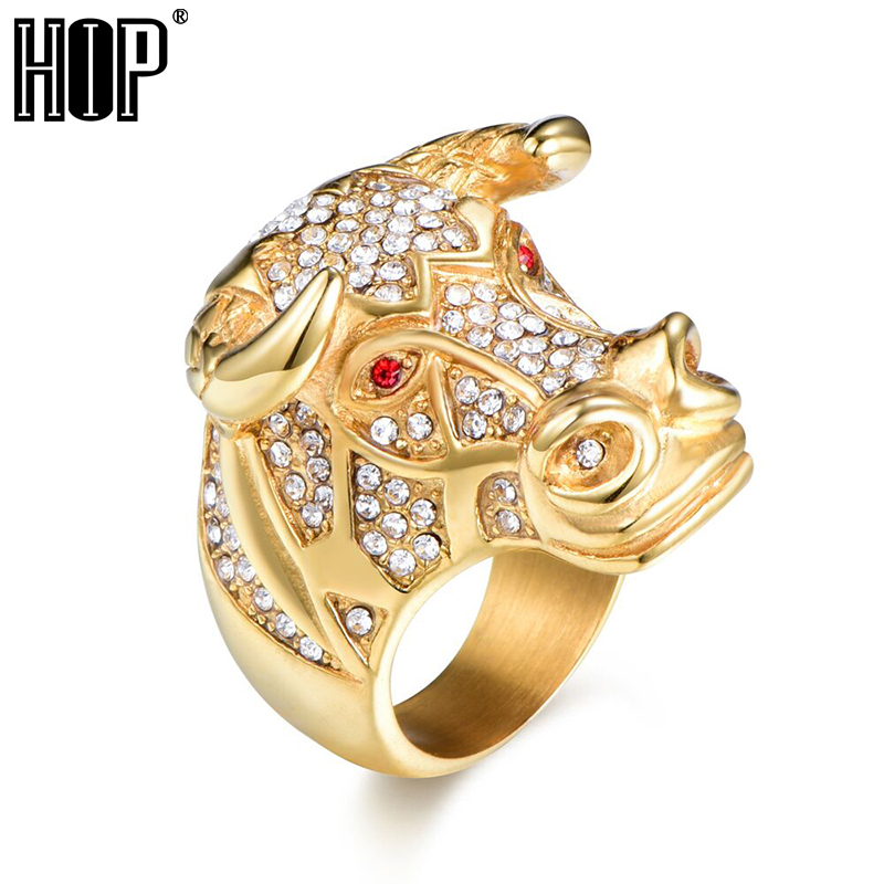 Hip hop micro vydláždit drahokamu zvířat býčí hlavy prsten černé ... 0021b2ff8c