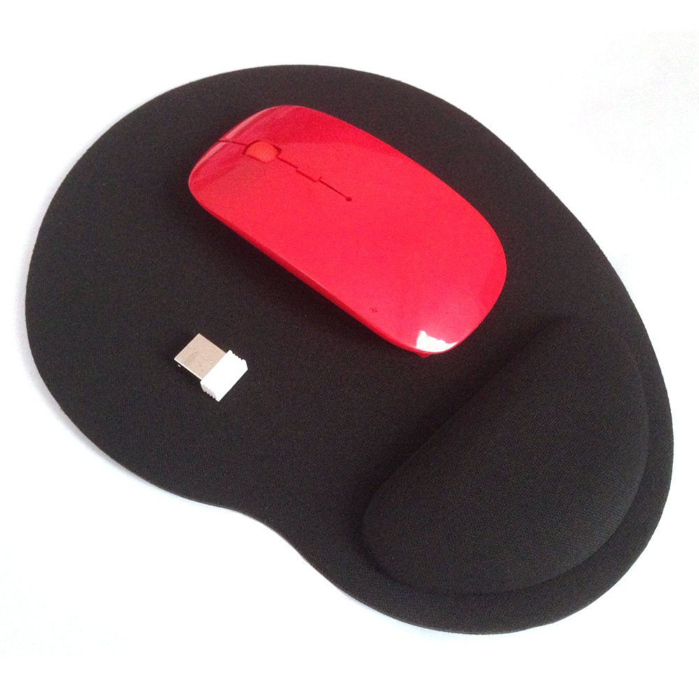 High Quality Promotion 2.4 GHz Wireless USB Optical Red Mouse & Black Mouse pad SET For  ...