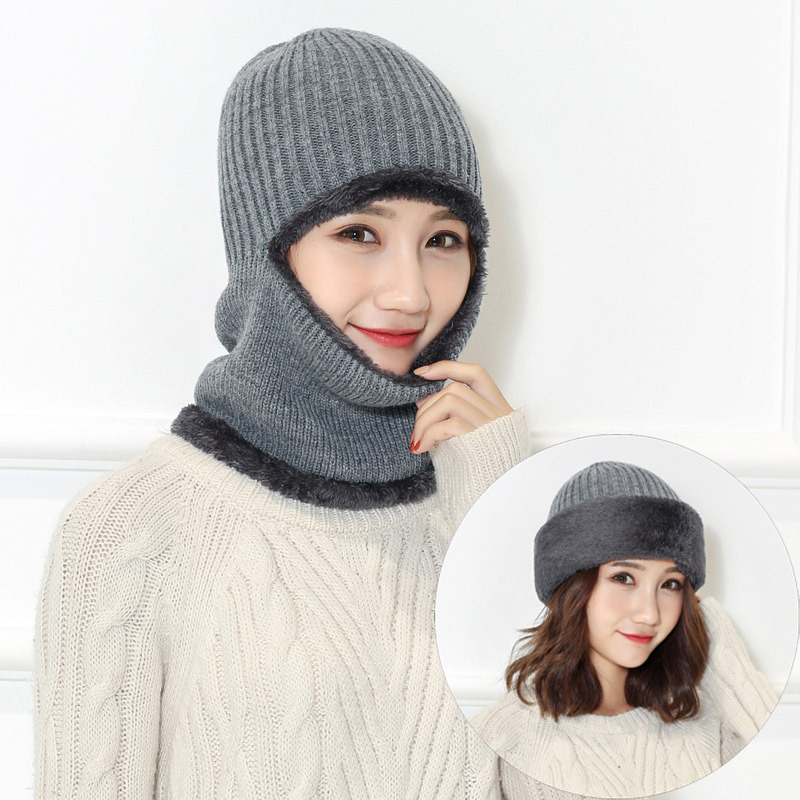 Winter Warm Beanies Hats For Women Men Knitted Skullies Balaclava Face Mask Neck 6 colors
