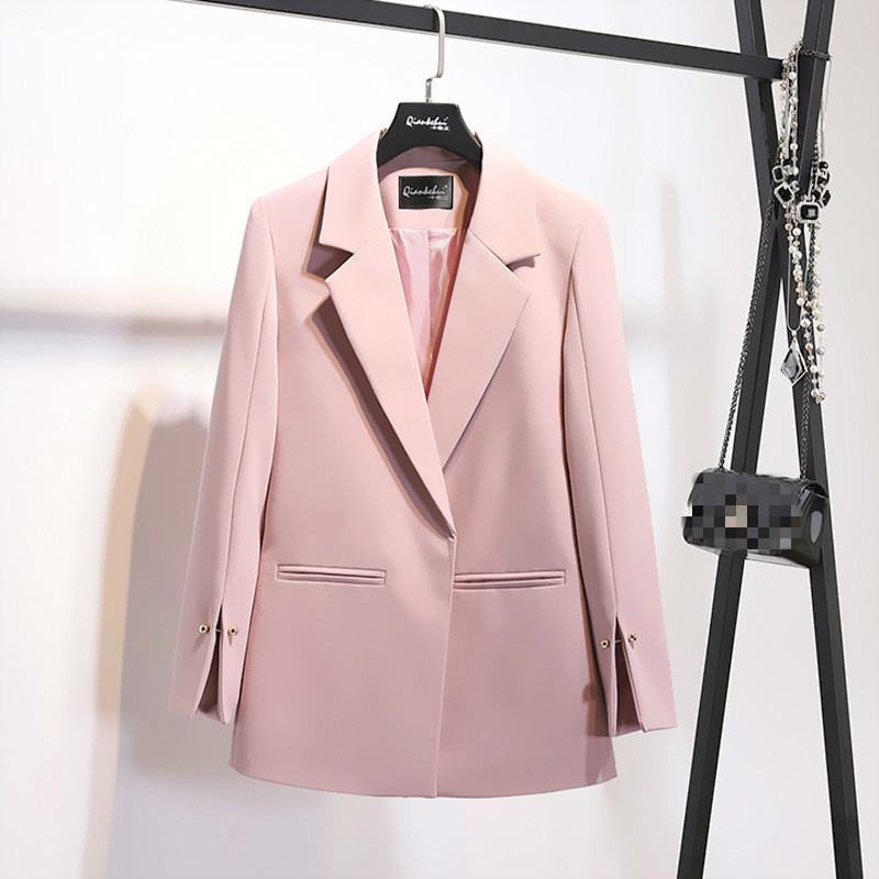 LANMREM 2019 Spring New Pattern Coat Notched Collar Spilt Sleeve Pearls Decoration Pocket Ladies Fashion Blazer BC031