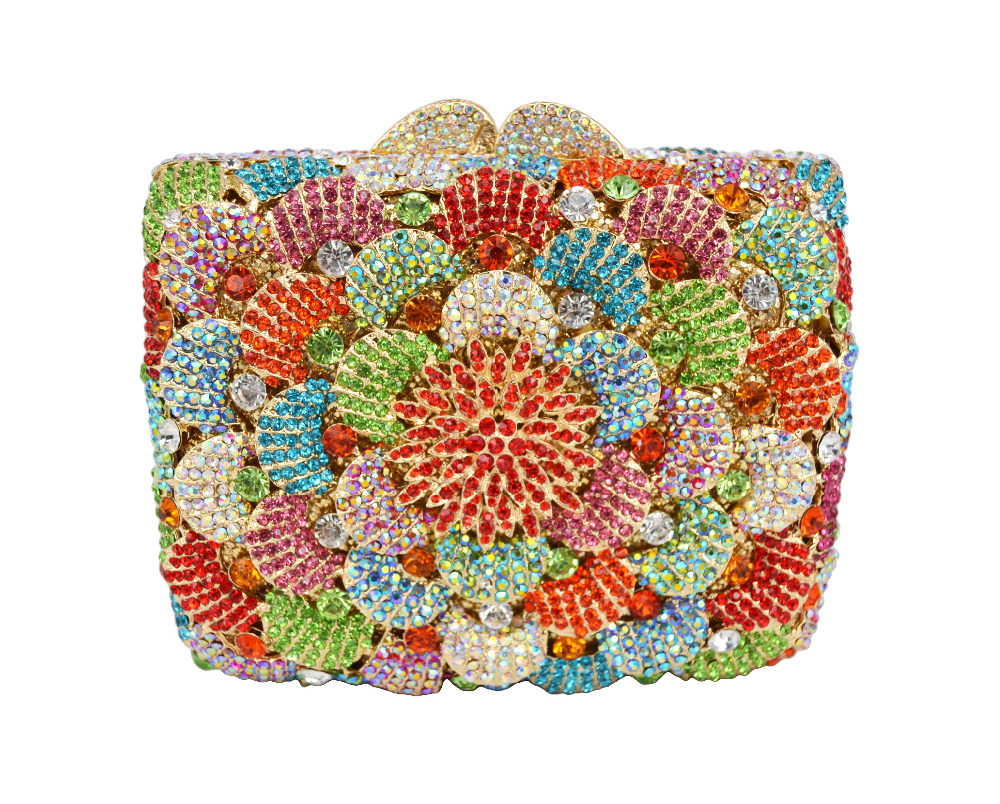 ФОТО Newest Mutli Casual Clutch Purse Crystal Evening Bags Women Wedding Party High Quality Socialite Floral Handbags With Chai 88381