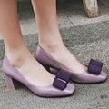AIWEIYi Genuine leather Women Pumps Square High Heels Slip on Platform Spring Autumn Ladies Wedding Shoes Size 34-39