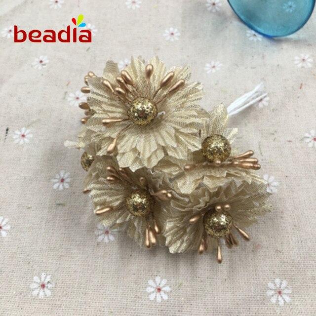 1pc Golden Silver Glitter Artificial Fabric Flower Bouquet for ...
