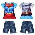 ST249 nova chegada 2016 menino definir crianças Verões quentes Superman Batman T-shirt + casaco + calça jeans três-terno das crianças roupas de bebê