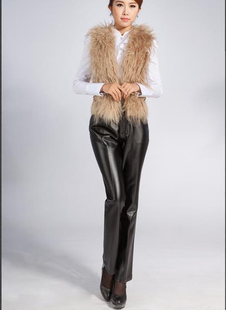 Venda quente Além Disso Sizewomen Calças De Couro Das Mulheres de Inverno do Sexo Feminino Casual Calças Retas das Mulheres Para Enviar A Mãe Pu Botão Calças mosca