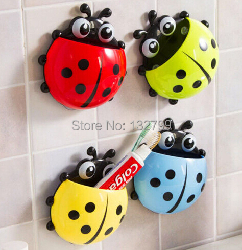 Cartoon Ladybug Toothbrush Storage Holder Cute Funny Wall Sucker Suction Hook Stand Bathroom Decor